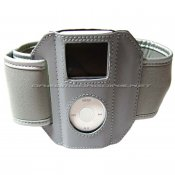 iPod 2nd Gen Nano 2 Premium Leather Sports Armband - Gray